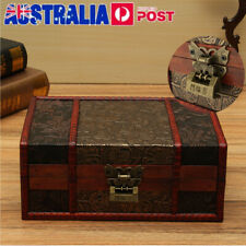 Large Vintage Wooden Storage Box Trinket Jewelry Treasure Lock Chest Home Decor