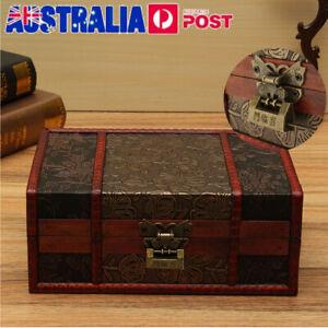Large Vintage Wooden Storage Box Trinket Jewelry Treasure Lock Chest Home Decor