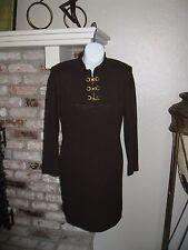 GORGEOUS! St. John Collection by Marie Gray Santana Brown Knit Zipper Dress sz 2