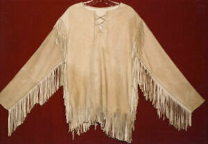 New Western Suede Leather Mountain Men Buckskin Shirt With Fringes