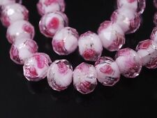 Lot 20PCS 12mm Flower Inside Faceted Rondelle Loose Lampwork Glass Spacer Beads