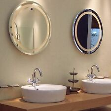 TWO x LARGE ROUND LED bathroom vanity LED MIRRORS wall mount plug in 530 x 35mm