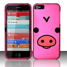 Apple iPhone 5 5S SE Rubberized HARD Protector Case Snap On Phone Cover Pink Pig