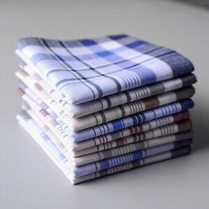5Pcs Mens Square Plaid Stripe Handkerchiefs Hanky Pocket Cotton Towel 38*38cm