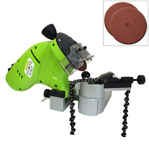 130W CHAINSAW BLADE SHARPENER BENCH MOUNTED CHAIN SAW GRINDER & 2 GRINDING DISCS