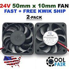 2 Pcs 24V 50mm Cooling Computer Fan 5010 50x50x10mm DC 3D Printer 2-Pin