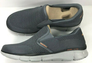 Skechers Equalizer-Double Play /Men's Memory Foam Gel Infused/Charcoal/Orange