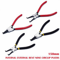 Quality ~INTERNAL & EXTERNAL~ Bent Nose Circlip Pliers 150mm C Clip Remover Tool