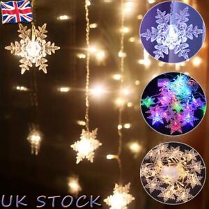 UK LED Snowflake Curtain Fairy String Lights Window Christmas Party Weding XMAS
