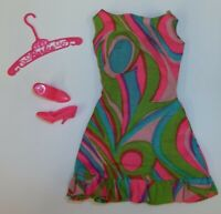 "Vintage 1968 Barbie Doll Clothing Mod Dress ""Swirly Cue"" Outfit w/ Shoes #1822"