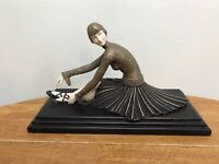 "D.Chiparus Deco Ballerina Beautiful Reprod-Wood Base-As Is-12""-Resin-"