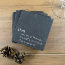 Engraved Slate Coasters, Persoanlised Dictionery Dad, Custom name, Gift for Dad