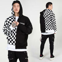 NewStylish Mens Half chess checkered contrast zip-up hoodie