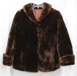 Vtg Faux Fur Coat Jacket Mod Retro 60s 70s Chocolate Brown Vegan Waist Hip M/L