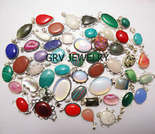 Mixed Gemstone 5pcs Pendant 925 Silver Overlay Wholesale Lot WH-11