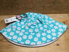 Lovely Blue Floral Sun Hat/White Embroidery/Age 1-3 Years/New & Tags/Reversible