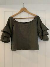 Zara Khaki Linen Frill Sleeve Off The Shoulder Top Size S
