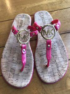 Michael Kors Women's MK Plate Jelly Thong Sandals Pink Size 8