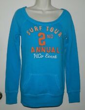 Women Hollister Casual Solid Blue Hoodie Long Sleeve Size XS