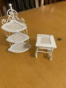 Vtg Dollhouse Miniatures Furniture White Metal Wicker Corner Shelf And Table GB1