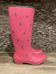 POLO RALPH LAUREN 7 RAIN BOOTS PINK GREEN PONY RUBBER BOOTS PERLA