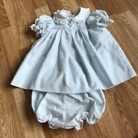 Polly Flinders Hand Smocked Light Blue Dress 12 Months Pink White Lace Bloomers