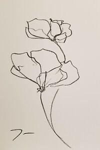JOSE TRUJILLO - OIL PASTELS Painting Expressionist Minimalist Fine ART - FLOWERS