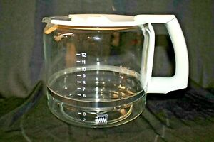 Krups Replacement 12 Cup Glass Coffee Carafe w/ Lid ProAroma 453 452 WHITE EUC