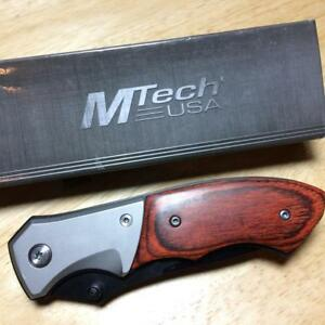 "MTech USA Tactical Brown Pakkawood Linerlock 4 1/2"" Pocket Knife MT411"