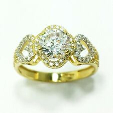 14k Yellow Gold Round Engagement Diamonique Ring Heart Halo Russian CZ Size 7.75
