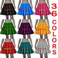 Women Girl Satin Short Mini 3 Tiered Skirt Ruffle Belly Dance Pleated Retro Jupe