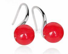 Jade Round Gemstone Dangle Earrings Beautiful 8mm Genuine Natural Red Ruby