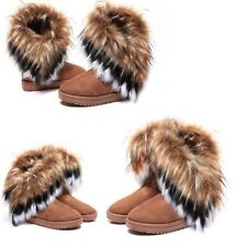 US STOCK Womens Winter Tassel Boots Warm High Long Ankle Rabbit Fur Snow Shoes