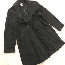 Chico's Wool Blend Black Coat Jacket Fringe Front Career Sz 3 XL Pockets Long