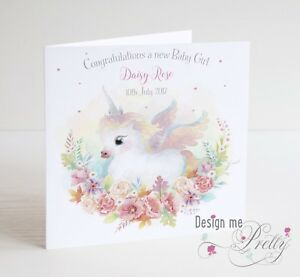 Personalised NEW BABY GIRL UNICORN card  - Granddaughter Niece