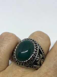 Vintage Stainless Steel Genuine Green Chrysoprase Size 10.25 Men's Cross Ring