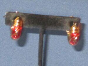 Signed JOAN RIVERS Gold-Tone Metal Red Blue & Green Enamel Clip Earrings