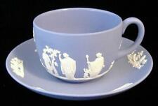 Wedgwood Blue Jasperware Cup And Saucer Sacrifice Cherubs