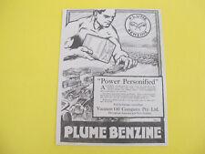 Vacuum Oil Plume Benzine Motor Spirit Original Advertisement from 1918 Magazine