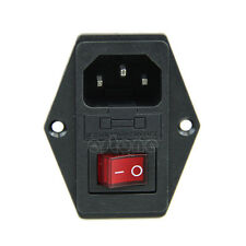 1x Inside AC 250V 10A 3 Terminal Power Socket with Fuse Switch Holder Black Red