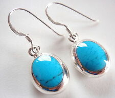 Reversible Blue Turquoise Cream Mother of Pearl Sterling Silver Oval Earrings