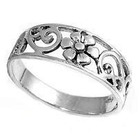 .925 Sterling Silver Trendy Plumeria Band Plain Ring SZ 4 5 6 7 8 9 10 NEW