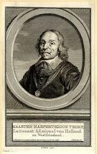 Portrait de Maarten Harpertszoon Tromp - Gravure originale du XVIIIème siècle