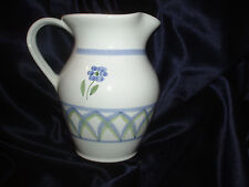 CALECA GRECA 2 QUART PITCHER BLUE GREEN ARCHES ITALY MULTI COLORED FLOWERS #336