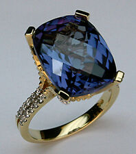 14kt Two Tone Gold Amethyst Ring with Diamond
