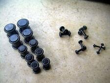Acrylic Black Plugs 14g 12g 10g 8g 6g 4g 2g 0g 00g  Ear Plugs 9 Pairs 16 Kit Lot