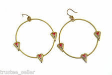 NWT Juicy Couture Fashion Gold CZ Crystal Paved Spike Pink Enamel Hoop Earrings