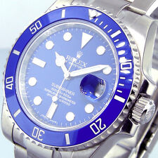 UNWORN ROLEX 116619 18K WHITE GOLD CERAMIC SUBMARINER BLUE DIAL