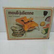 Vintage Mouli-Julienne #445 Orange 5 Disc Slicer, Grater, Shredder ~ France