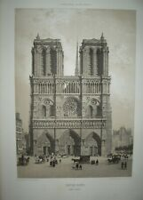 Façade ouest CATHEDRALE NOTRE DAME PARIS litho Charpentier dessin Benoist 1850
